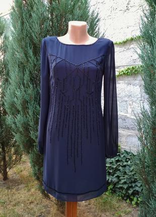 Темно-синее шифоновое платье с бисером Coast