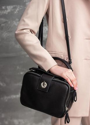 Женская сумка чемоданчик из мягкой натуральной кожи на длинном...