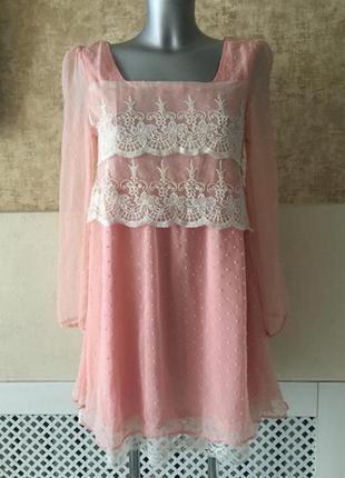 Платье воздушное шифон кружево