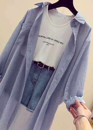 Шифоновая в полоску рубашка оверсайз