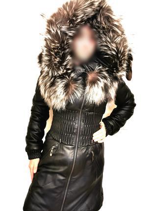 СРОЧНО Продам кожаное пуховое пальто с Чернобуркой