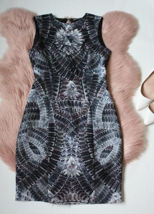 Платье-футляр\ миди\ рисунок\ узор\ разноцветное\ серое\ черно...