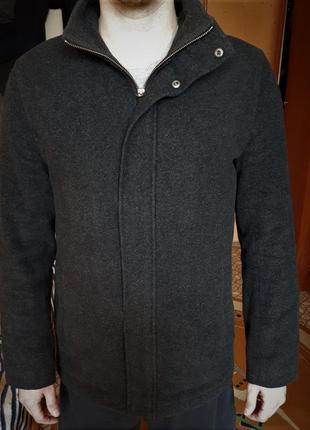 Мужское шерстяное черное пальто f&f