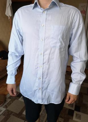 Котоновая рубашка в голубую полоску mark & spencer