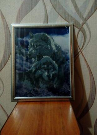 Вышита в ручную картина бисером Волки верность