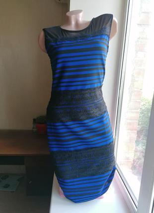 Стрейчевое платье-карандаш с кружевом в полоску синее с черным...