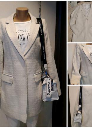 Стильный брэндовый белый пиджак жакет блейзер кардиган