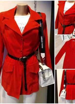 Стильный брэндовый красный пиджак жакет блейзер кардиган