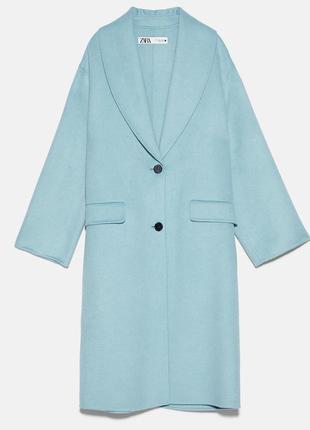 Пальто zara оверсайз zara зеленовато-синего цвета