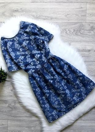 Джинсовое платье в цветочный принт