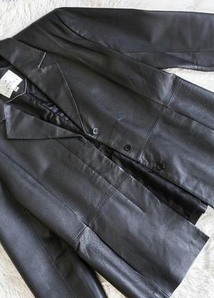Женский кожаный черный пиджак, жакет, блейзер, куртка