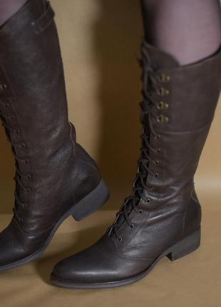 Высокие кожаные сапоги на шнуровке bronx ковбойки, казаки