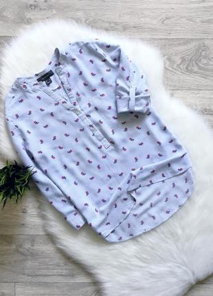 Рубашка в полоску и в цветочный принт