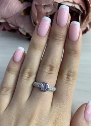 Серебряное кольцо SilverBreeze с натуральным аметистом (2043188)