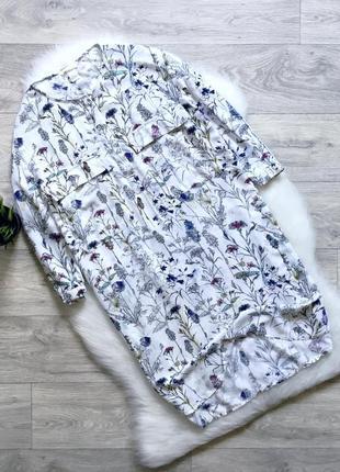 Платье-рубашка в цветочный принт