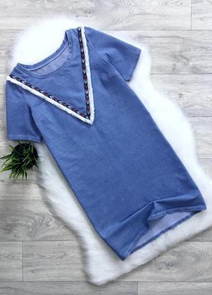 Платье с вышивкой и бахромой