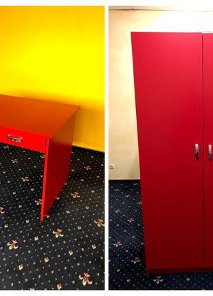 Продам Стол и Шкаф красного цвета, срочно