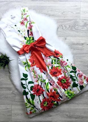Платье в цветочный принт с пышной юбкой