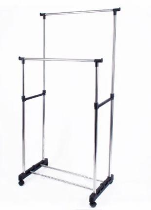 Телескопическая стойка вешалка для одежды и обуви Double Pole 30