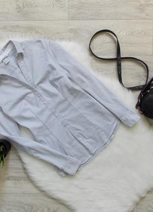 Приталенная рубашка в мелкий горошек