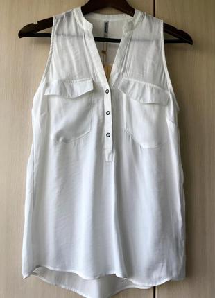 Белая блуза с большими карманами stradivarius / l
