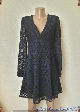 Фирменное topshop синее платье верх с плотного дорого кружева ...