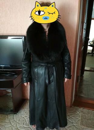 Кожаное пальто, натуральный мех