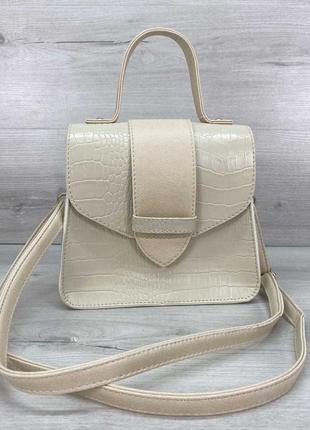 Женская сумка «оби» бежевая