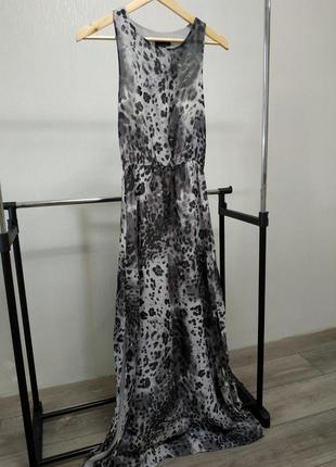 Сарафан макси серый леопардовый принт topshop