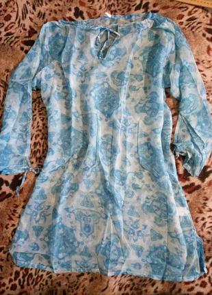 Туника блузка пляжная летняя лёгкая голубая синяя L/XL шифон