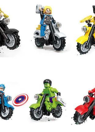 Набор фигурок мстители marvel лего lego (аналог) на мотоциклах
