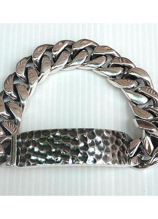 Серебряный мужской браслет панцирь панцирный с пластиной