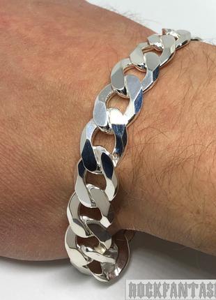 Серебряный мужской браслет панцирный панцирь с гранями