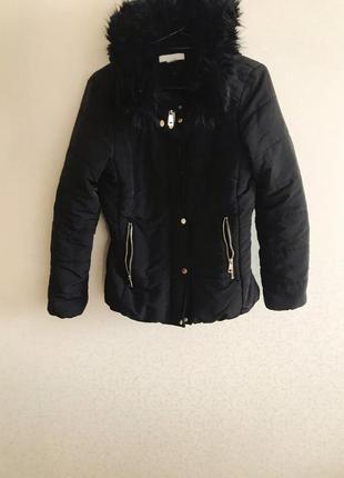 Женская куртка, зимняя куртка, чёрная куртка, куртка с капюшоном