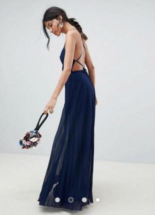 Очаровательное шифоновое длинное платье плиссе открытая спина ...