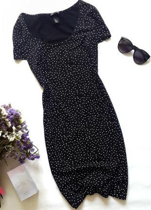 Черное платье в мелкий горошек,базовое черное платье в обтяжку...