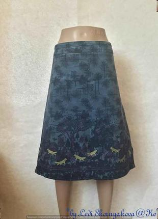 Вильветовая юбка-миди в тёмно синем цвете и вышитыми рисунками...
