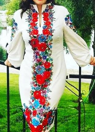 Платье вышитое бисером,ручная работа