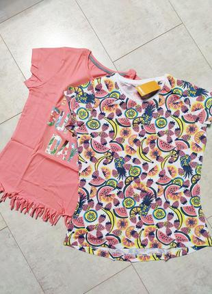 Набор футболок на девочку, набор 2 штуки, летние хлопковые фут...