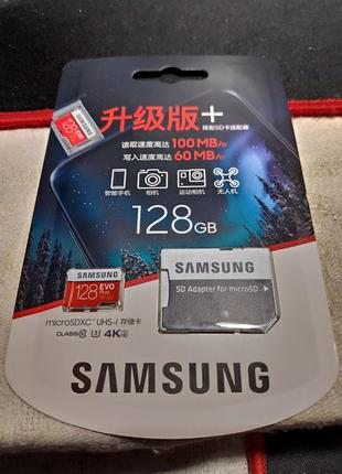 MicroSDXC Карта памяти 128GB Samsung EVO Plus UHS-3 4K 100MB/s