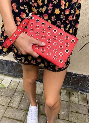 Красный клатч с заклепками,сумочка с кошельком,кож.зам.