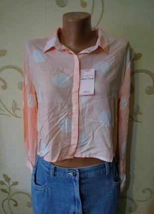 Alcott . интересная укороченная блузка рубашка сорочка в горох...