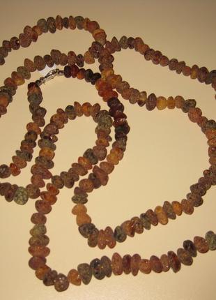 Длинные бусы из натурального янтаря. 58 см, вес 43 грамм