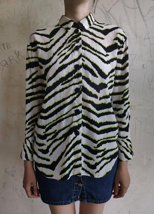 Шифоновая рубашка в яркий принт, рубашка с ремнём, блуза