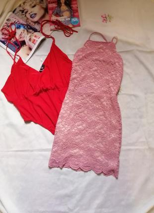 Стильное кружевное платье цвета пыльной позы на размер s