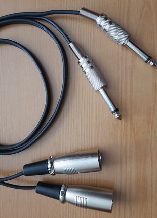 Кабель 2 х jack 6,3 мм ts ( моно) - 2 x XLR male 3 pin (папа)