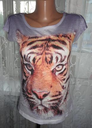 Футболка тигр стразы р.s-m