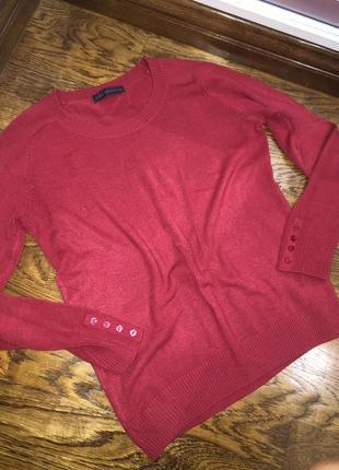 Супер красный свитер с пуговками на рукавах , бордовый , пулов...