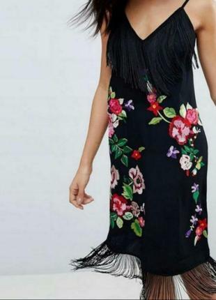 Шелковое платье расшитое бисером