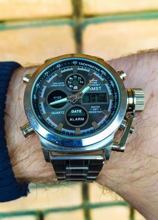 Часы мужские в стиле AMST. Мужские наручные часы серебристые